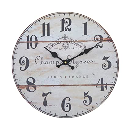 Reloj de pared - Elysees - reloj de cocina de madera con esfera grande de MDF