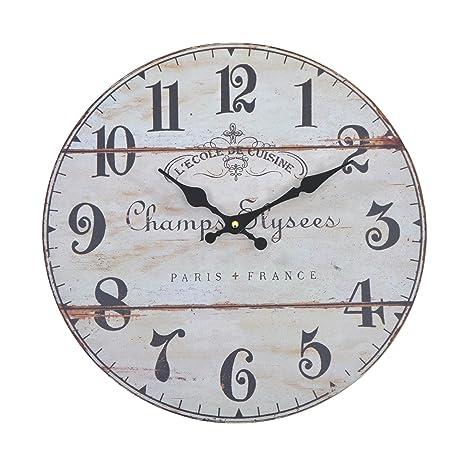 Orologio da muro - Elysees- Silenzioso orologio da cucina in legno con  grande quadrante in MDF, Orologio retro con design shabby chic alla moda  con ...