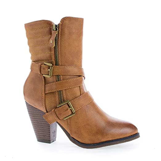 Western Cowgirl Stacked Faux Wooden Block Heel Ankle Boots