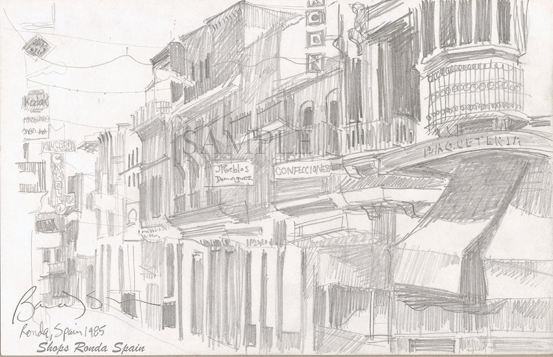 Amazon com pencil drawing in spain giclee print of original plein air pencil drawing shops ronda spain handmade