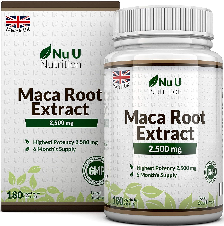 Maca Wurzel 2500 mg hochdosiert mit wichtigen Vitalstoffen 6 Monats Versorgung 180 Kapseln Nahrungsergänzungsmittel von Nu U Nutrition Amazon