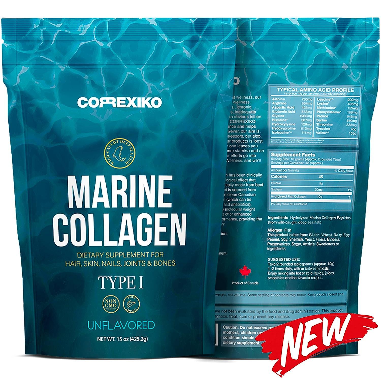 Péptidos Colágeno Marino de Peces Salvajes del Atlántico Norte (No de Acuicultura) - Pack Grande (425gr) - Proteína de Colágeno en Polvo para Articulaciones ...
