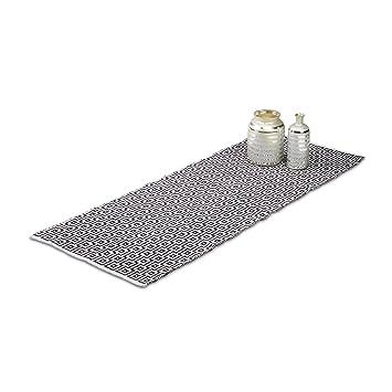 Relaxdays Teppich Läufer Flur 80 X 200 Cm, Handmade, Designer  Baumwollteppich Modern, Kurzflor