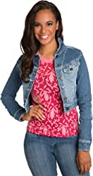 72ba9333534d9e Sweet Vibes Junior Womens Stretch Denim Cropped Jacket Vintage Wash Flock  Print