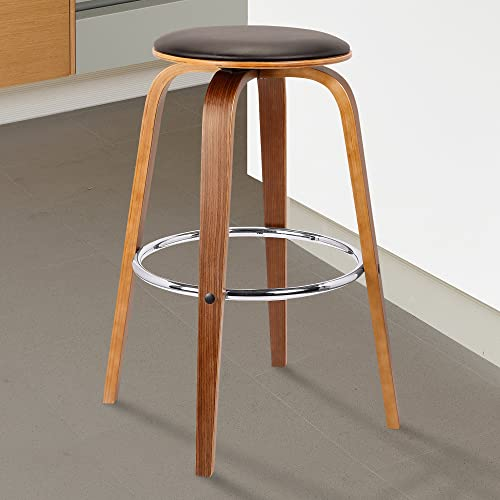 Armen Living Harbor Mid-Century Swivel Counter Height Backless Barstool