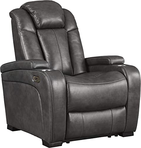 Signature Design by Ashley Turbulance Power Recliner Adjustable Headrest Quarry