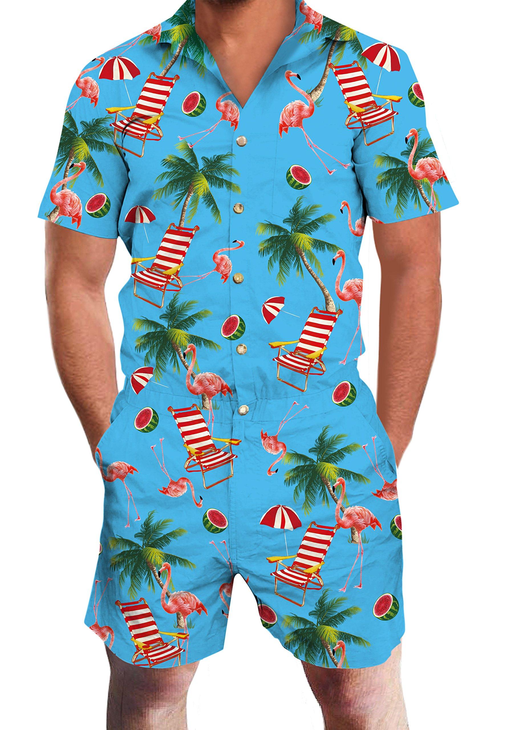 Loveternal Beach Flamingo Mens 3D Pattern Printed Personalized Short Sleeve Summer Hawaii Jumpsuit Rompers Playsuit One Piece