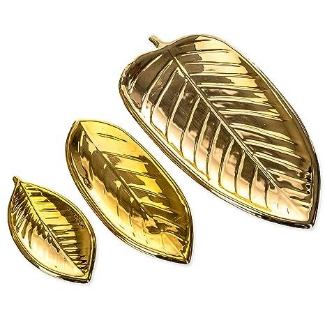 Amazon.com: Juego de 3 bandejas de cerámica con diseño de ...