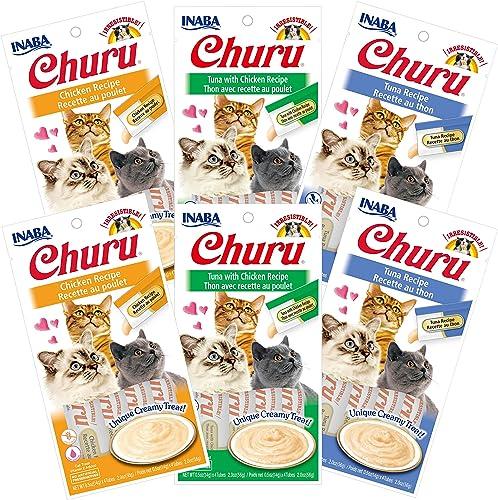 INABA Churu Lickable Creamy Pur e Cat Treats 3 Flavor Variety Pack of 24 Tubes