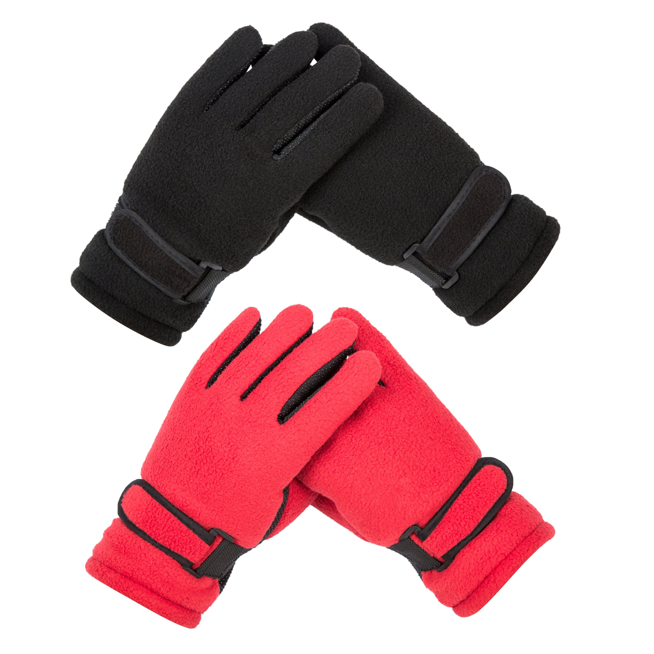 Kid's Boy Girl Fleece Winter Gloves Mittens Riding Driving Running Ski Outdoor Sports (2pairs-black blue red random)