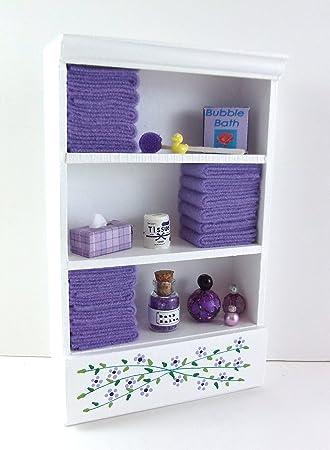 Mueble de Baño Miniatura Casa de muñecas unidad Estante MORADA Toallas & Accesorios