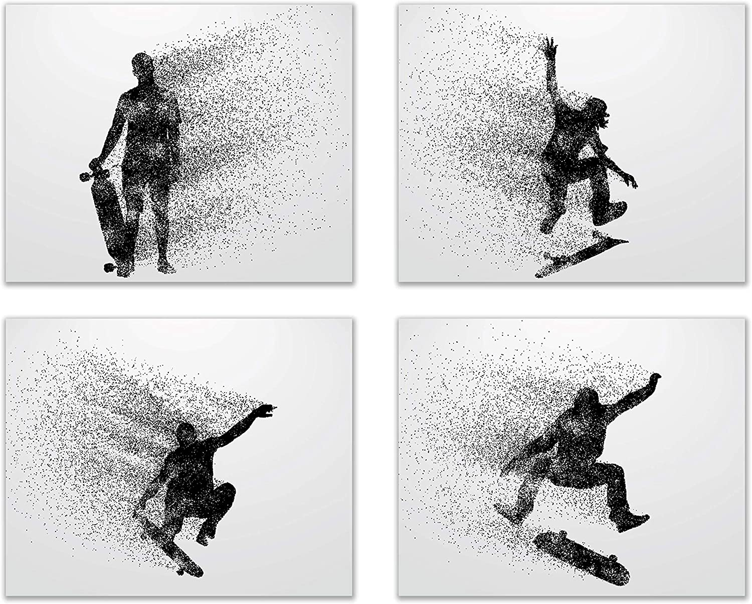 Amazon Com Summit Designs Skateboarding Wall Art Prints Silhouette Set Of 4 8x10 Poster Photos Bedroom Man Cave Posters Prints