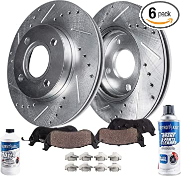 Front Disc Brake Rotor Set Premium Drilled and Slotted Pair W// Ceramic Pads