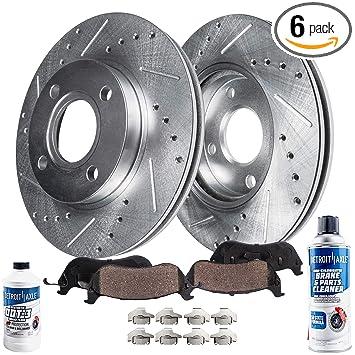 Front Set Premium Drilled and Slotted Disc Brake Rotors Pair and Ceramic Pads