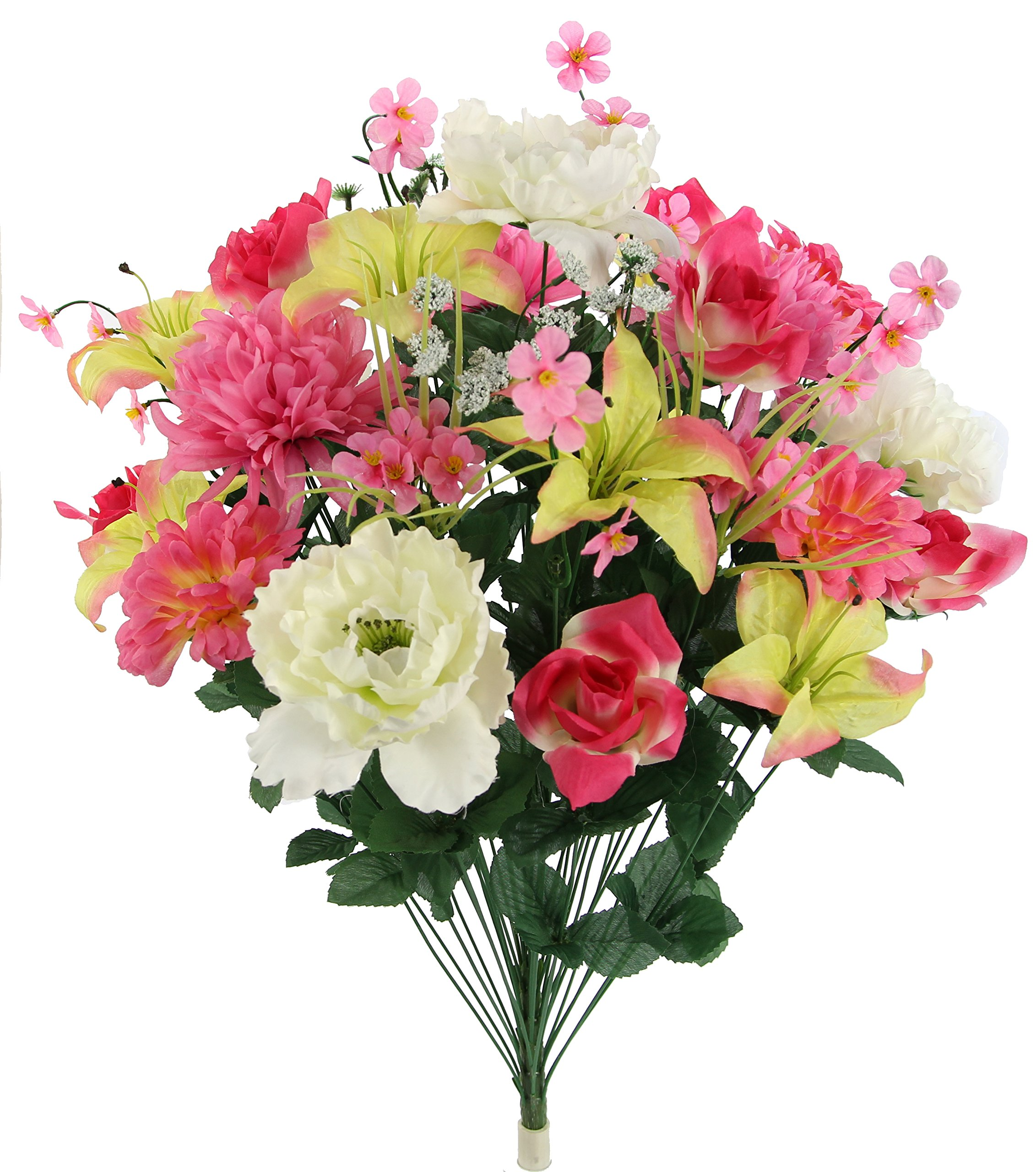 Admired-By-Nature-Faux-Lily-Peony-Zinnia-Mum-Mixed-Flower-Bush