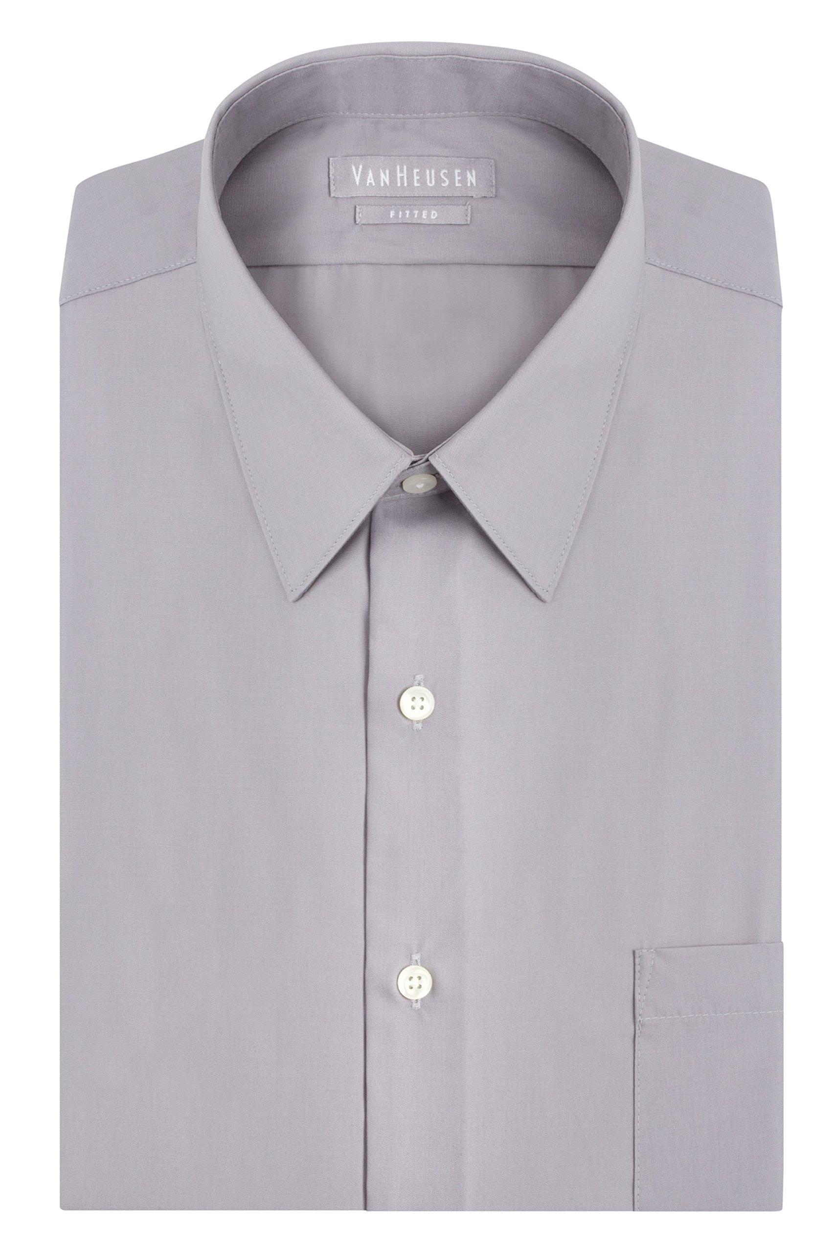 Van Heusen Men's Poplin Fitted Solid Point Collar Dress Shirt, Greystone, 18.5'' Neck 36''-37'' Sleeve