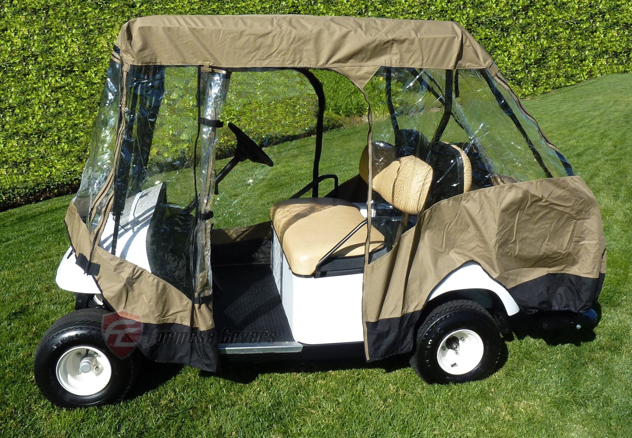 Premium Tight Weave Golf Cart Driving Enclosure for 4 seater with 2 seater roof up to 58'' by Formosa Covers (Image #3)