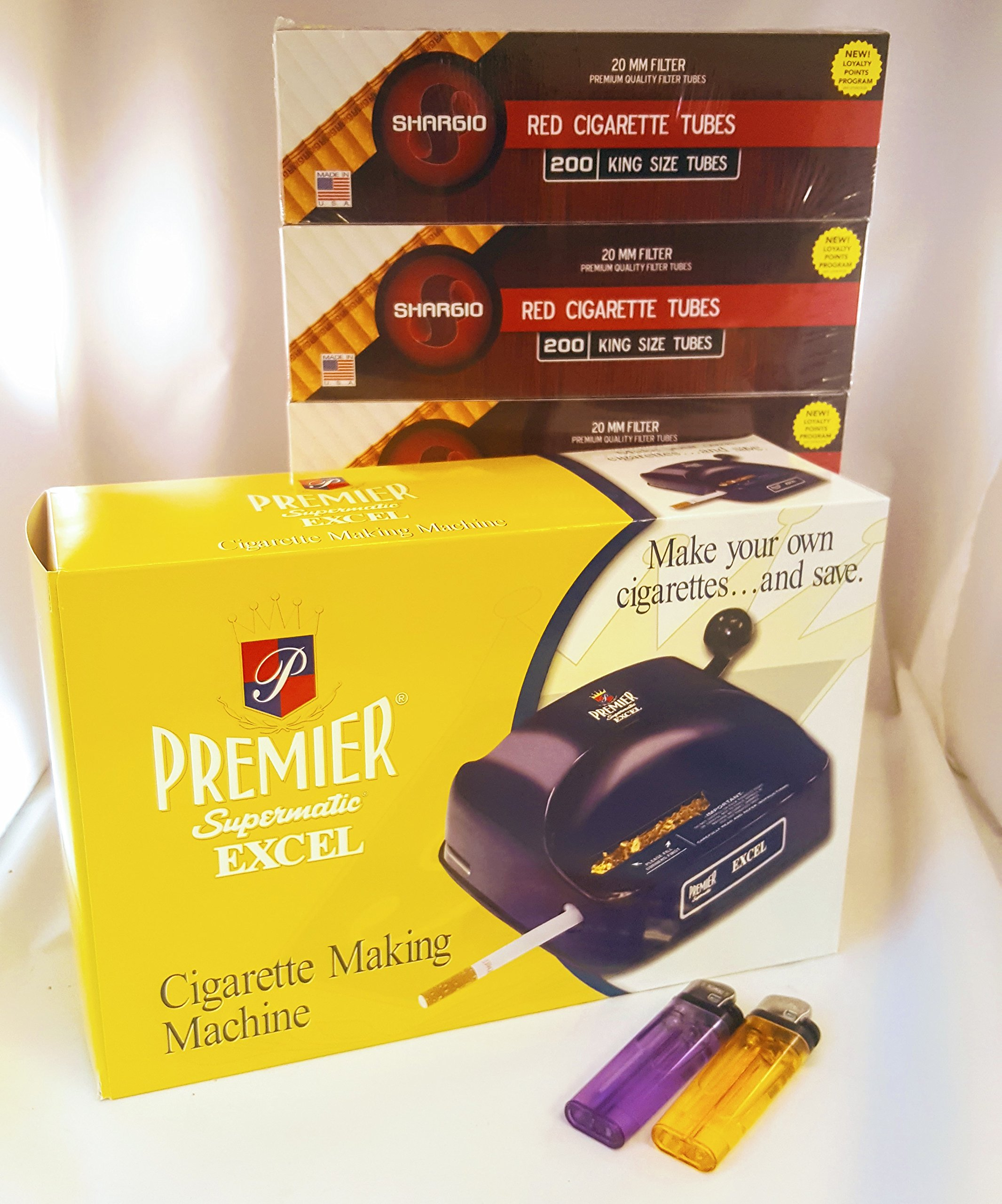 Premier Excel Cigarette Rolling Machine+ Free Shargio Tubes & liighters