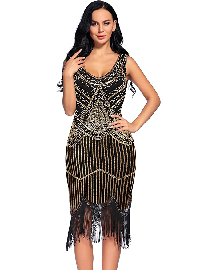 Roaring 20s Costumes- Flapper Costumes, Gangster Costumes Flapper Girl Womens Vintage 1920s Sequin Beaded Tassels Hem Flapper Dress $30.69 AT vintagedancer.com