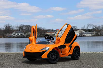Electric Kids Cars >> First Drive Mclaren P1 Orange 12v Kids Cars Dual Motor Electric Power Ride On Car With Remote Mp3 Aux Cord Led Headlights And Premium Wheels