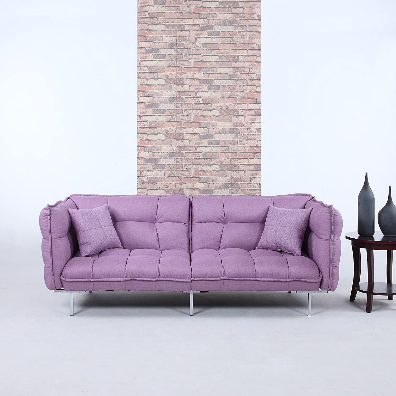 Amazon.com: Divano Roma Furniture Collection   Modern Plush Tufted Linen  Fabric Splitback Living Room Sleeper Futon (Purple): Kitchen U0026 Dining