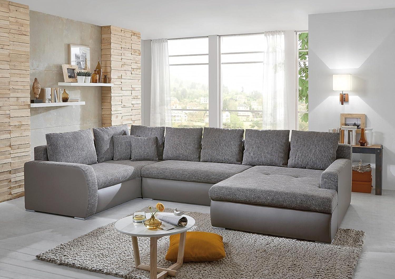 Ecksofa In U Form Grau Stoff Kunstleder Couch Eckgarnitur Polsterecke  Günstig Bestellen