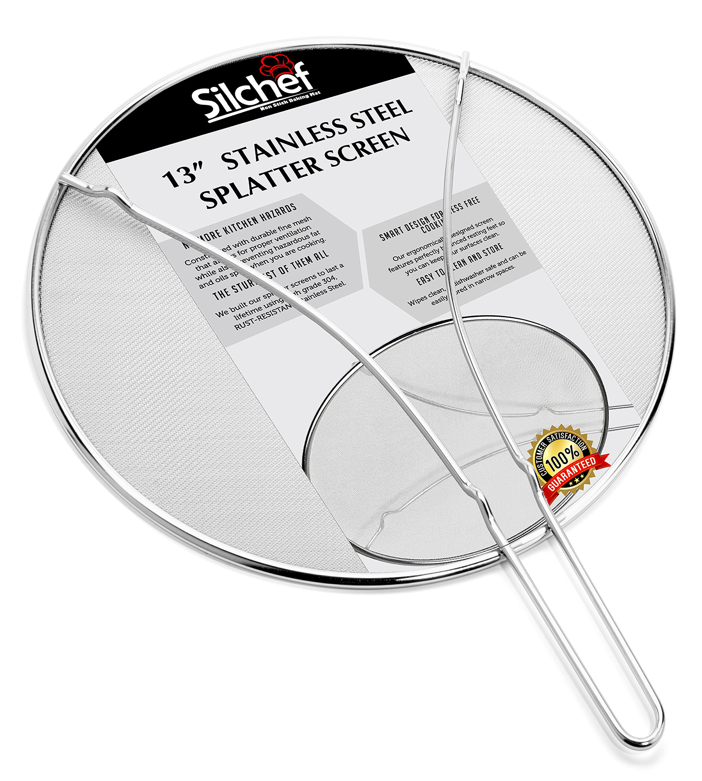 """Splatter Screen for Frying Pan 13"""" - Stops 99% of Hot Oil Splash – Rust Proof Stainless Steel Grease Splatter Guard with Resting Feet by Silchef"""