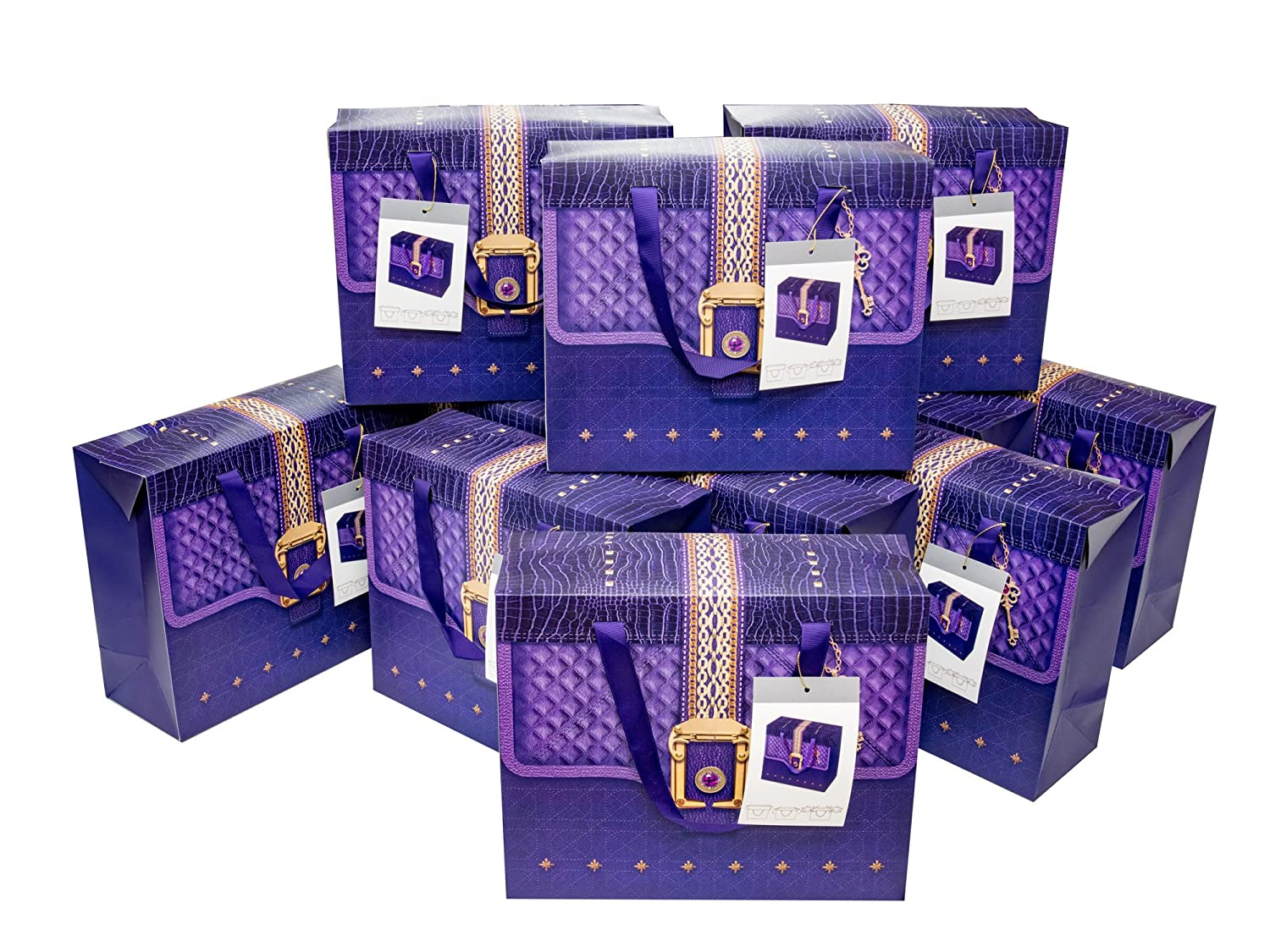 4656ab902df89 Amazon.com  Paper Gift Bags with Ribbon Handles for Christmas and Holidays  Purple and Gold ( Large