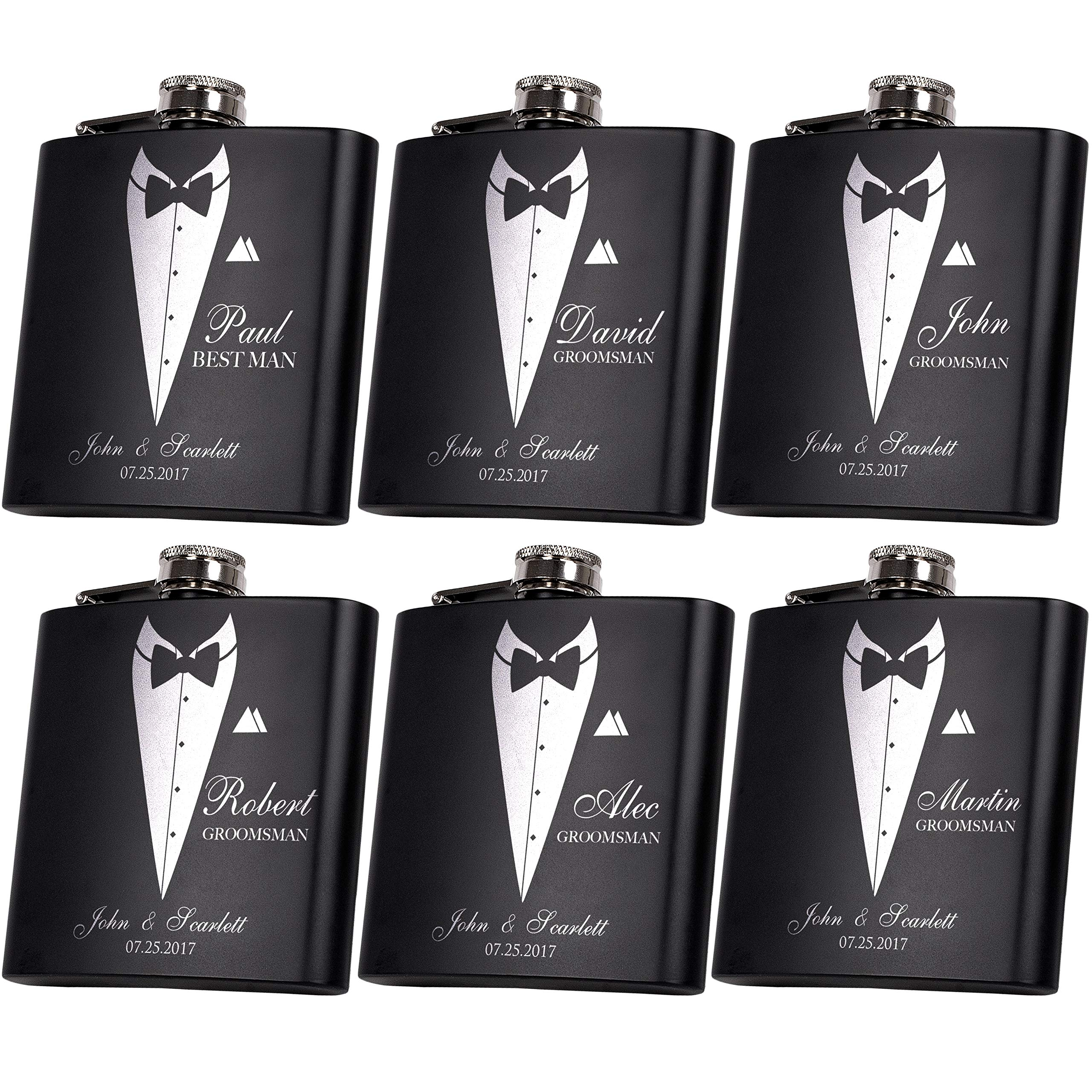 Set of 6, Set of 3, Single - Personalized Flask, Groomsmen Gift, Customized Groomsman Flasks, Wedding Favors, Matte Black ... (6) by United Craft Supplies