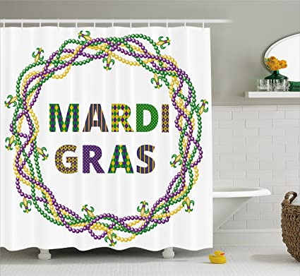 Ambesonne Mardi Gras Shower Curtain Vivid Beads Circular Frame With Lettering Traditional Patterns Print
