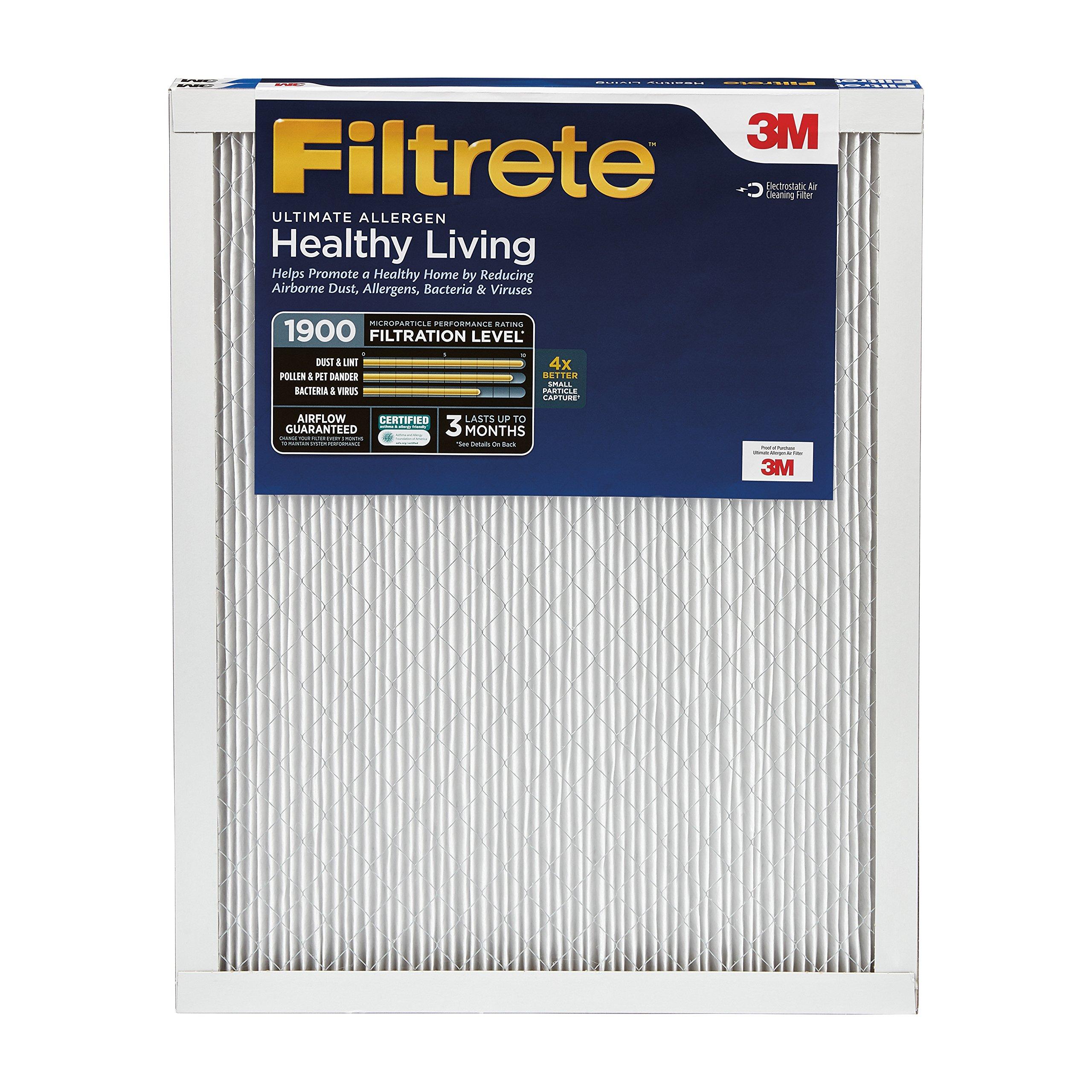 Filtrete 20x25x1, AC Furnace Air Filter, MPR 1900, Healthy Living Ultimate Allergen, 2-Pack