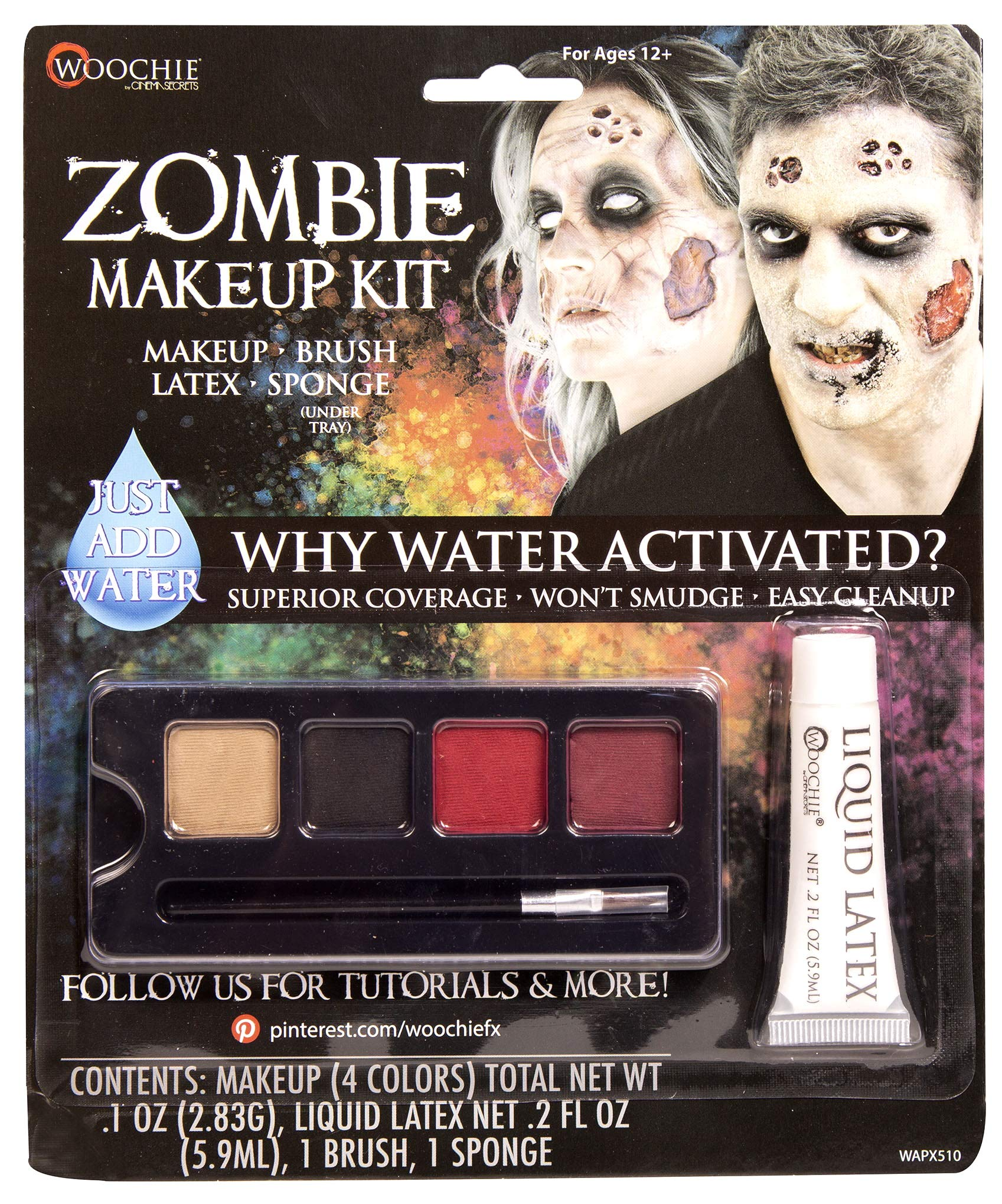 Woochie Water Activated 4-Color Make Up Palette Kits - Professional Quality Halloween Costume Cosmetics - Zombie by Woochie