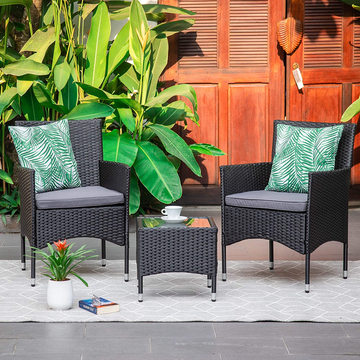 M&W 3 Pieces Patio Furniture Set, Outdoor Chairs and Coffee Table, PE Rattan Wicker Bistro Table Set for Balcony, Lawn, Garden, Backyard, Grey (Throw Pillow NOT Included)