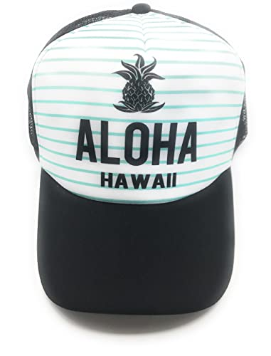 5f86f829d15 Amazon.com  Aloha Hawaii Snapback Hat With Mesh (Sea Foam Stripe)  Clothing