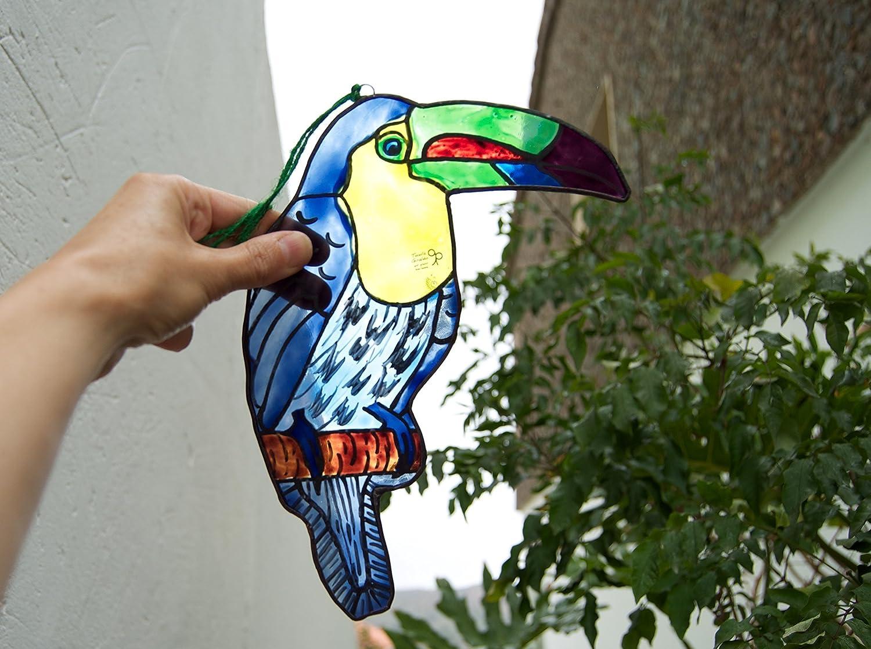 Animal Ave Tuc/án vidriera Atrapa luz Colgar en la ventana Colgar en la pared Decorativo Colgar en el techo Vidrio pintado a mano