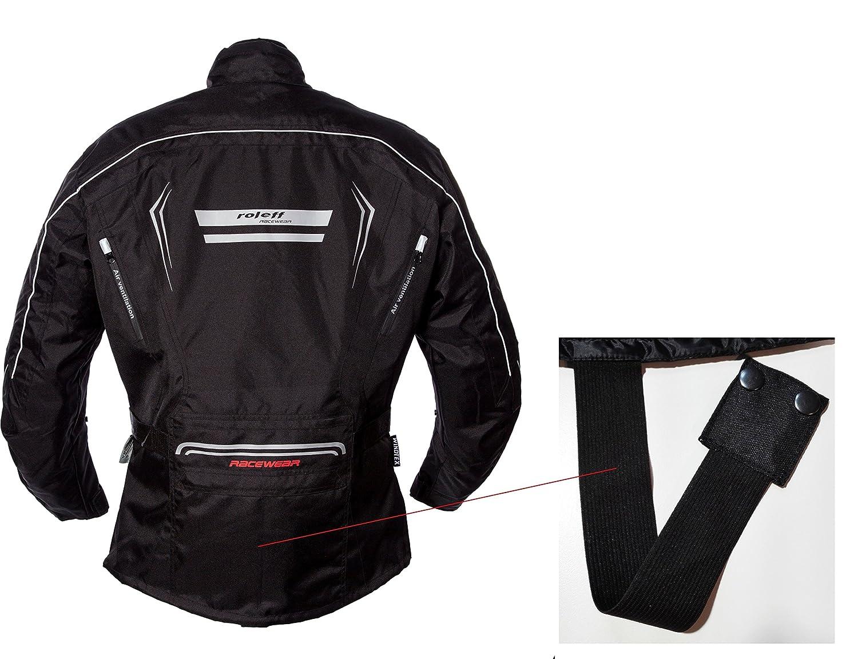 Klimamembrane und herausnehmbarem Thermofutter Bel/üftungssystem Protektoren Roleff Schwarz-graue Motorradjacke mit neon-gelben Elementen