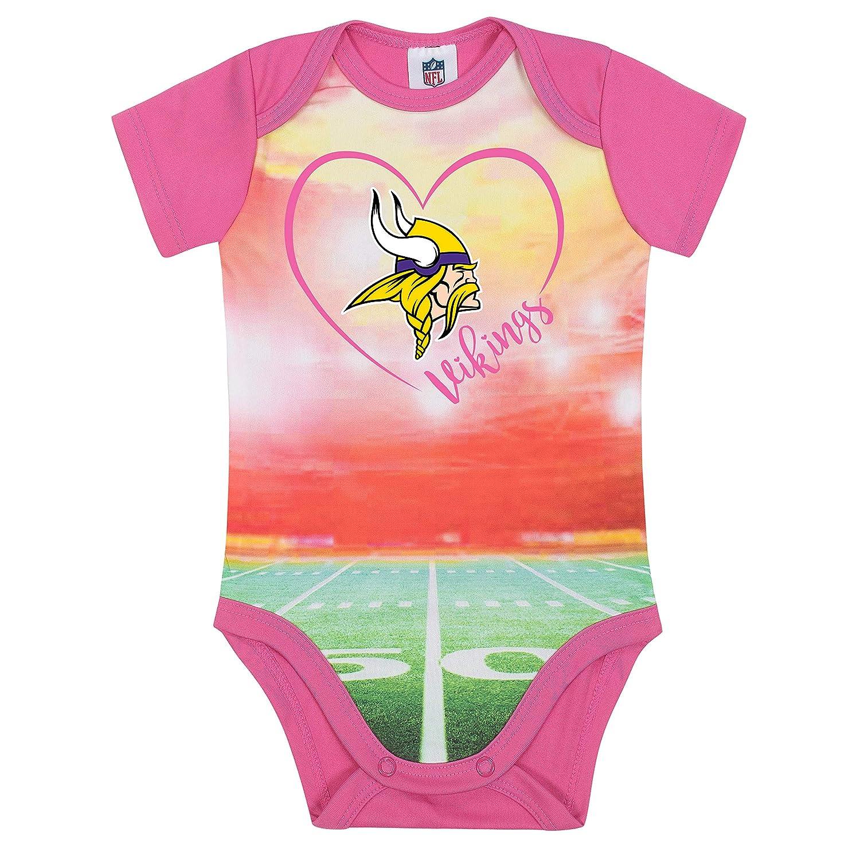 407484fdc Amazon.com : NFL Minnesota Vikings Baby-Girls Short-Sleeve Bodysuit, Pink,  0-3 Months : Clothing