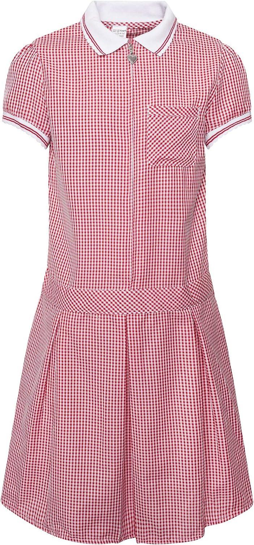 Girls School Gingham Heart Zip Summer Dress Cotton Blend School Pleated Dress Check