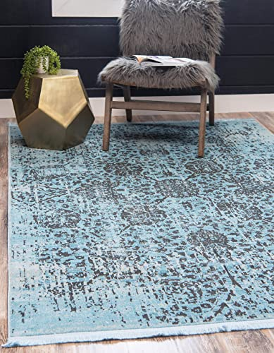 Unique Loom Baracoa Collection Bright Tones Vintage Traditional Light Blue Area Rug 10 0 x 13 0