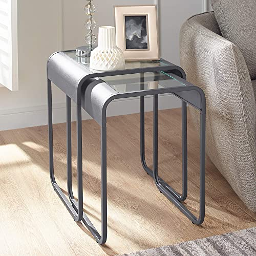 WE Furniture Curved Glass Square Side Nesting Tables, Gun Metal Grey