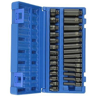 """Grey Pneumatic (9728M 1/4"""" Drive 28-Piece Deep Length Metric Master Socket Set: Automotive"""