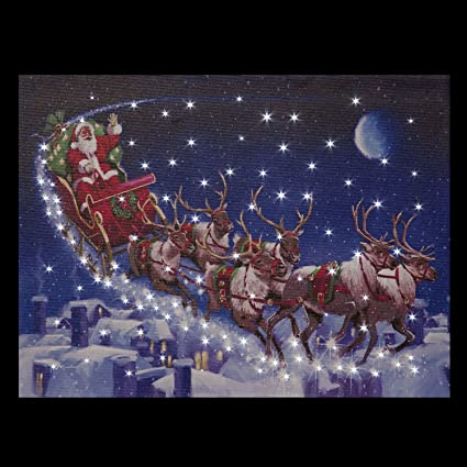 Tela Raffigurante Slitta Di Babbo Natale Con Renne Con Luci
