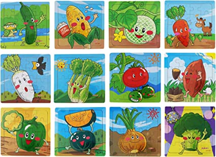 TEMSON Wood Jigsaw Puzzles for Small Children Kids (16 Cubes, 18x15cm, Pack of 12) (Vegetables) (E)