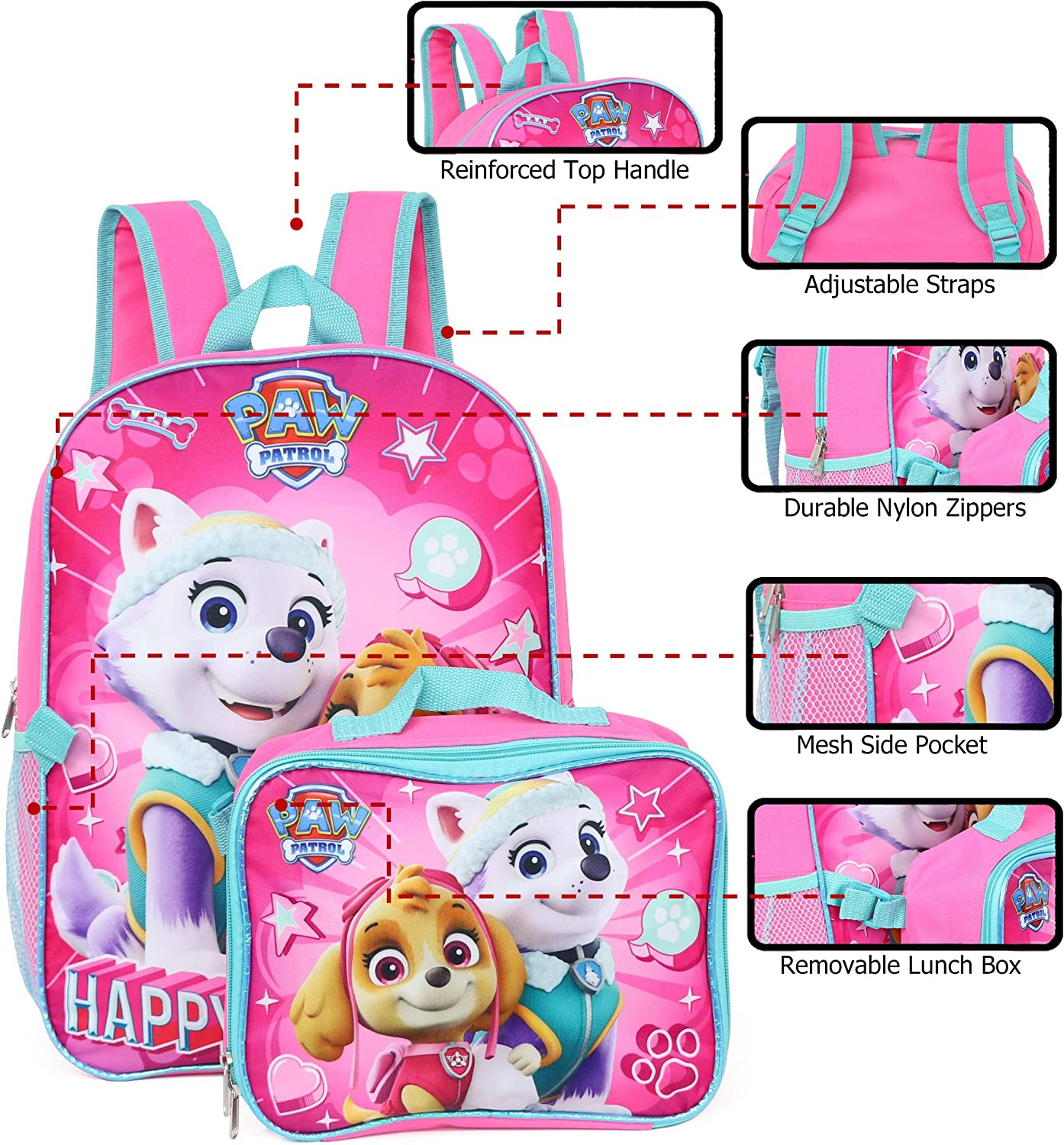 Nickelodeon Girl Paw Patrol 16 Backpack With Detachable Matching Lunch Box