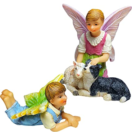 Mood Lab Fairy Garden Figurines Set   Miniature Fairy Accessories  Friendship Set Of 2 Pcs