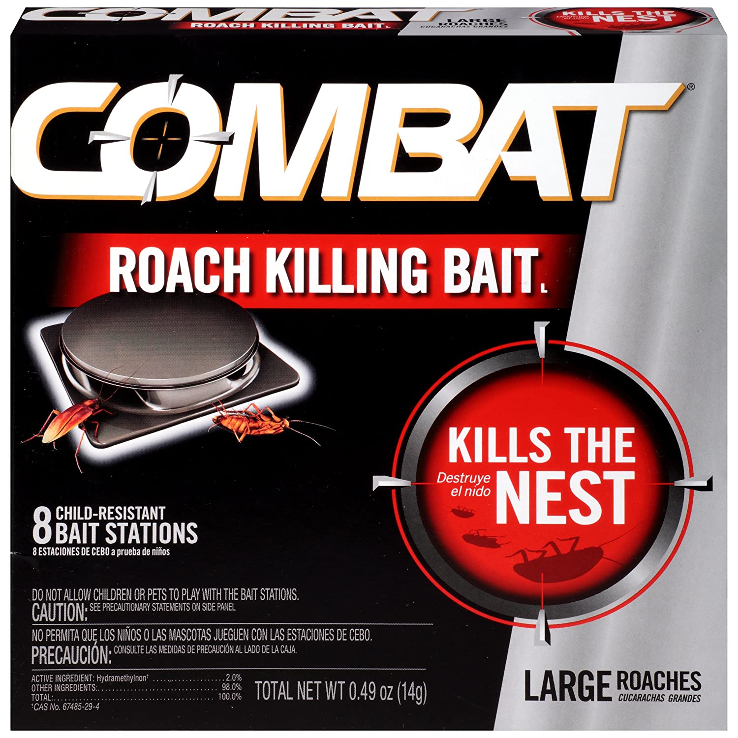 Combat Roach Killing Bait, Large Roach Bait Station, 8 Count (780059/41913)