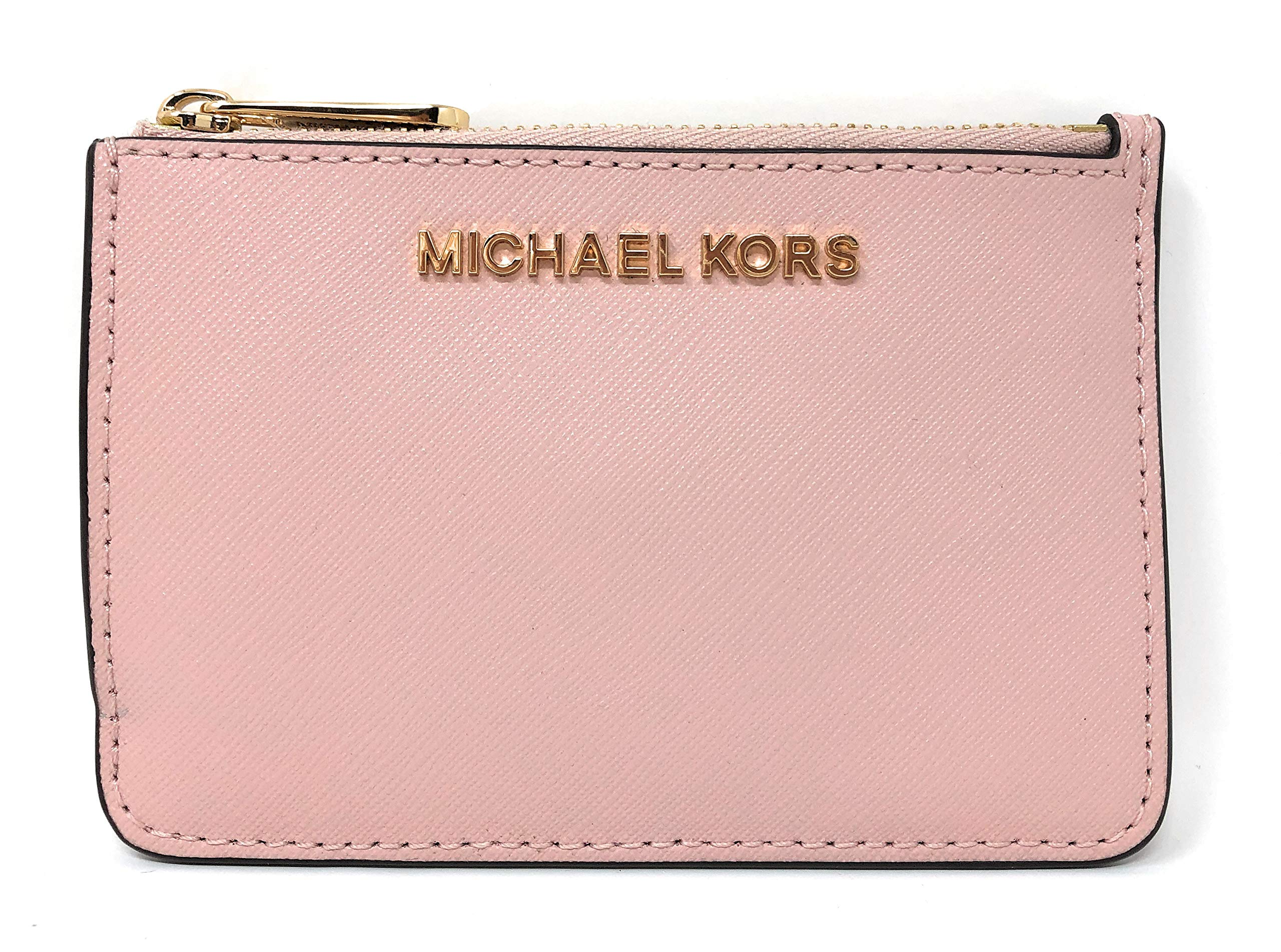Michael Kors Jet Set Travel Small Top Zip Leather Coin Pouch ID Card Case Wallet In Blossom by Michael Kors