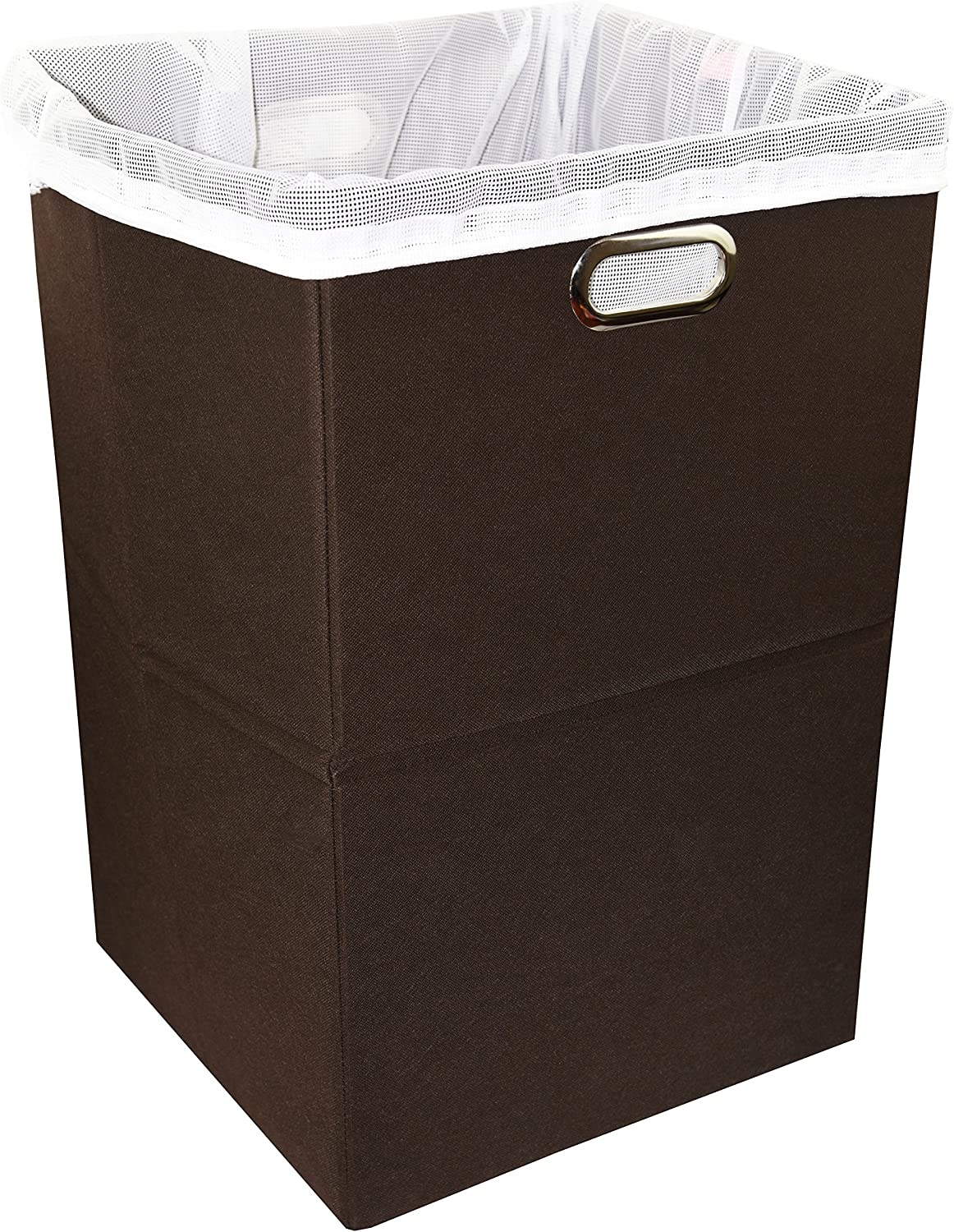 Premium Foldable Large Laundry Hamper with Laundry Bag - Durable Non-Woven Fabric, Anti-Mold Plastic Board, Extra-Large Size, Space-Saving & Compact Clothes Basket with Metal Handles (Brown)