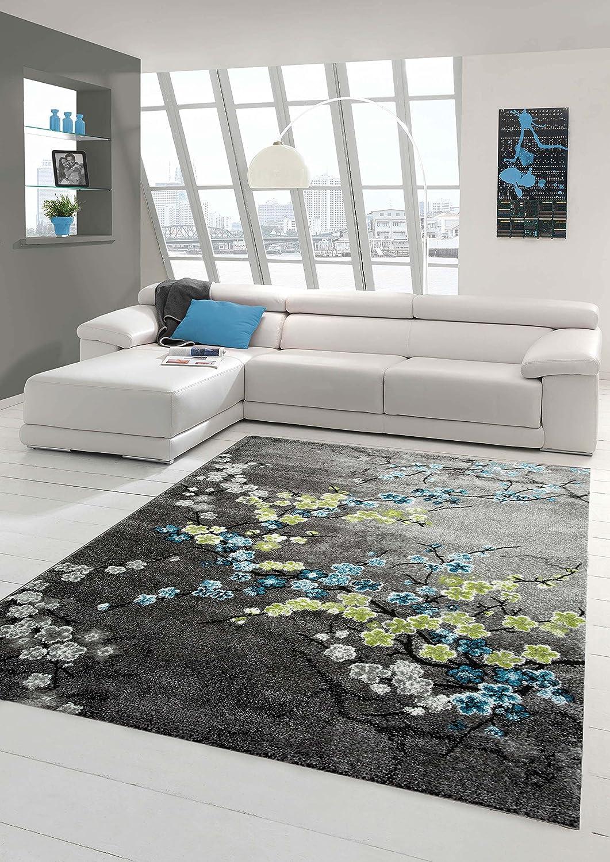 Designer Teppich Moderner Teppich Wohnzimmer Teppich Blumenmotiv Grau Türkis Grün Weiss Größe 200 x 290 cm