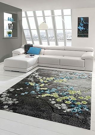 Schon Designer Teppich Moderner Teppich Wohnzimmer Teppich Blumenmotiv Grau  Türkis Grün Weiss Größe 160x230 Cm